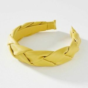 Anthropologie Faux Leather Braided Headband